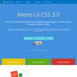 Metro UI CSS - The front-end framework for developing projects on the web in Windows Metro Style