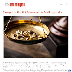 Changes to the AEA Framework in South Australia - Hetherington