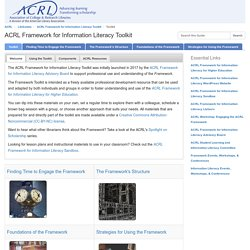 Toolkit - ACRL Framework for Information Literacy Toolkit - LibGuides at ACRL