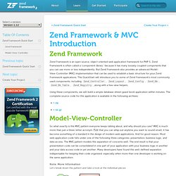 Zend Framework & MVC Introduction