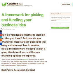 A framework for picking and funding your business idea