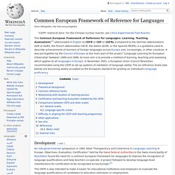 Common European Framework of Reference for Languages - Wikipedia