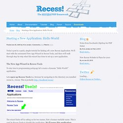 Recess PHP Framework | Starting a New Application: Hello World