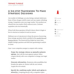 A six-step framework to make strategic decisions
