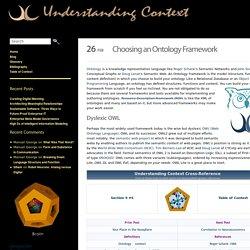 Choosing an Ontology Framework - Understanding Context