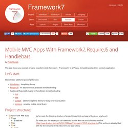 Mobile MVC Apps With Framework7, RequireJS and Handlebars