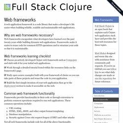 Web Frameworks - Full Stack Clojure