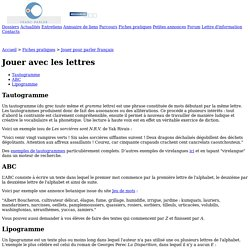 Franc-parler - Fiche : Jouer avec les lettres