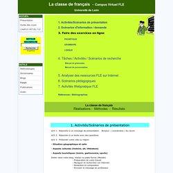 classe de français, Campus Virtuel FLE, activités, scénarios