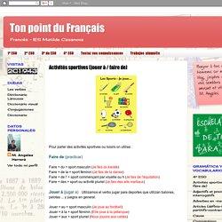 Ton point du Français: Activités sportives (jouer à / faire de)