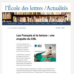 Les Français et la lecture : une enquête du CNL - Les actualités de l'École des lettresLes actualités de l'École des lettres