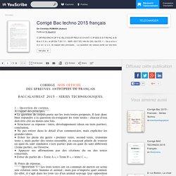 Corrigé Bac techno 2015 français - Christian ROMAIN - Education