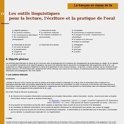 Le français en classe de 3e : IV les outils de la langue
