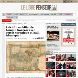 Laïcité : un billet de banque français avec verset coranique et haïk islamique