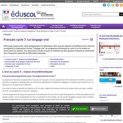 Français - Français cycle 3 -Le langage oral