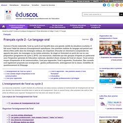 Français - Français cycle 2 - Le langage oral