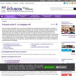Français cycle 2 - Le langage oral