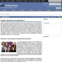 Français : Déconfiner la voix des élèves ?