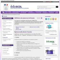 Français - Définitions des épreuves de français