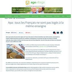 Apa : tous les Français ne sont pas logés à la même enseigne - 23/01/17