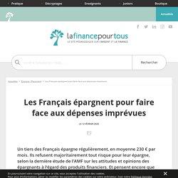 Les Français épargnent pour faire face aux dépenses imprévues