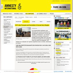 82 % des Français sont favorables à l'accueil des réfugiés
