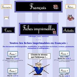 Français - Fiches imprimables