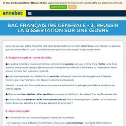 BAC FRANÇAIS 1re générale - 3. Réussir la dissertation sur une œuvre