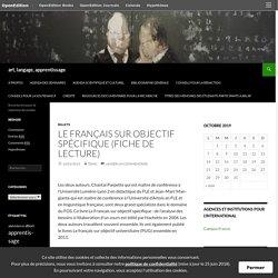 Le français sur objectif spécifique (fiche de lecture)