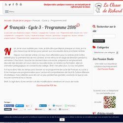 Français – Cycle 3 - Programme 2016