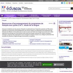 Français - Ressources français C2 C3 : Etude de la langue