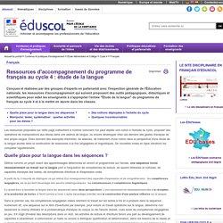 Français - Ressources français C4 : étude de la langue