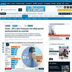 Crise : 20% des Français ont déjà pensé sérieusement au suicide
