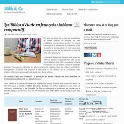 Les Bibles d'étude en français : tableau comparatif
