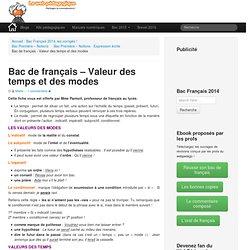Bac de français – Valeur des temps et des modes