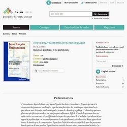 Revue Revue française des affaires sociales 2009/1