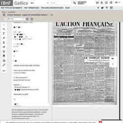 L'Action française : organe du nationalisme intégral / directeur politique : Henri Vaugeois ; rédacteur en chef : Léon Daudet