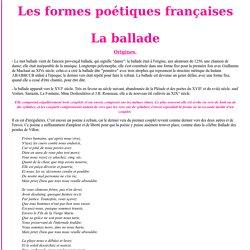 Les formes poétiques françaises: ballade, chant royal, complainte