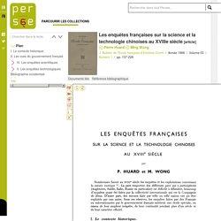Les enquêtes françaises sur la science et la technologie chinoises au XVIIIe siècle
