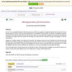 Affichage de texte, suite d'instructions