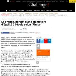 La France, bonnet d'âne en matière d'égalité à l'école selon l'Unicef