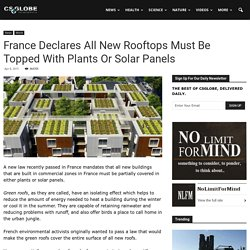 France Declares All New Rooftops Must Be Topped With Plants Or Solar Panels