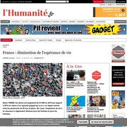 France : diminution de l'espérance de vie