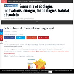 Carte de France de l'ensoleillement ou gisement -