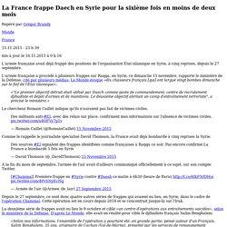 La France frappe Daech en Syrie pour la sixième fois en moins de deux mois