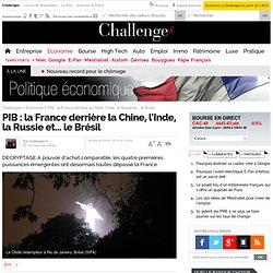 PIB : la France derrière la Chine, l'Inde, la Russie et... le Brésil