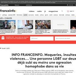 INFO FRANCEINFO. Moqueries, insultes, violences... Une personne LGBT sur deux a déjà subi au moins une agression homophobe dans sa vie