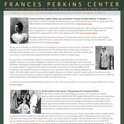 Frances Perkins Center - A short history of her life