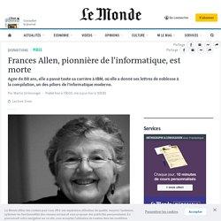 Frances Allen, pionnière de l'informatique, est morte