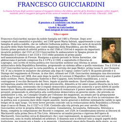 FRANCESCO GUICCIARDINI: vita, opere e pensiero